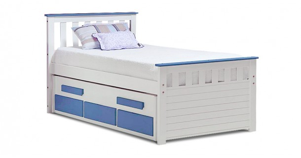 Bergamo Captain's Bed - Whitewash With Choice Of Colour by Verona