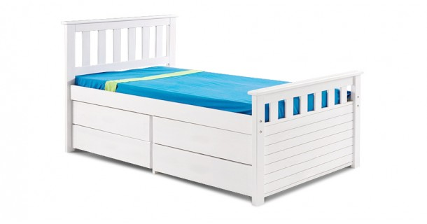 Kid's Short Ferrarra Captain's Bed - Whitewash by Verona